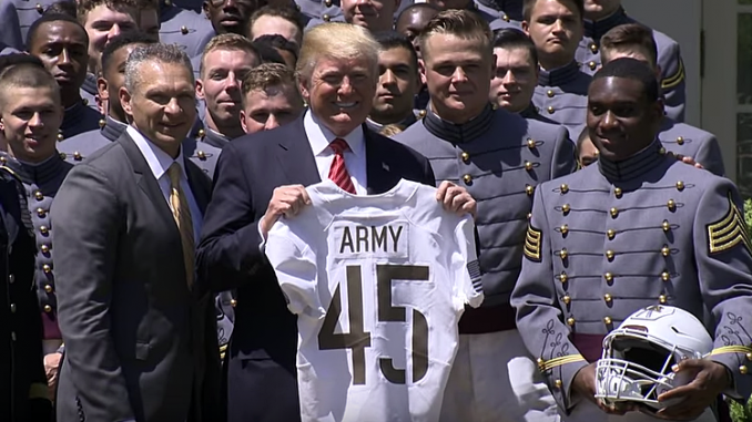 Army visits White House, President Trump, 2018